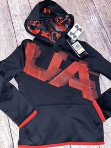 Under Armour Youth Small 8 Black Red Hoodie Hooded Sweatshirt NEW $27.99