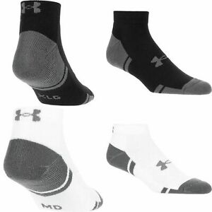 3 Pair Mens Under Armour Resistor 3.0 Lo Cut Socks Black White Run Gym Golf $13.99
