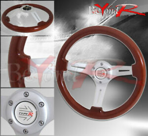 350mm Light Wood Grain Chrome Center 3 Spokes Steering Wheel Jdm Race Button