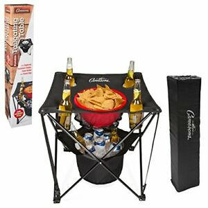 Tailgating Table- Collapsible Folding Camping Table with Insulated Cooler Food