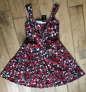 NEW KALEIDOSCOPE 10 Red Rose Dress Flare Fitted Stretch ROCKABILLY VINTAGE STYLE