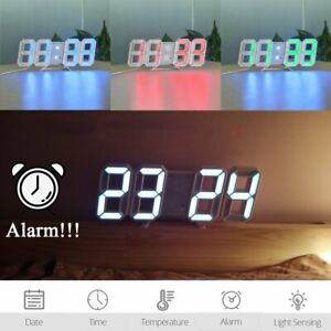 Modern Digital 3D LED Wall Clock Large Alarm Clock Snooze 12 24 Hour Display USB