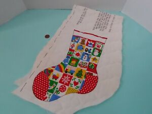 VINTAGE STOCKING FABRIC PANEL QUILTED FABRIC TO CUT & SEW