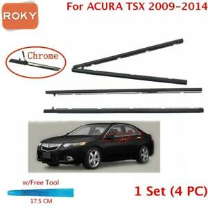 For ACURA TSX Sedan 2009 2014 Window Weatherstrip 4PC Sweep Belt Outer Chrome $48.08