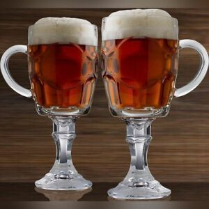 (Set of 2) Circleware Uptown Set of 2 Footed Clear Heavy Base Beer Glasses 20 oz