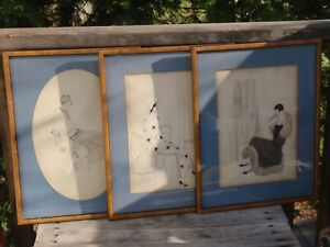 3 MID CENTURY SIGNED FRAMED LADIES FASHION ORIGINAL DRAWINGS 16.25 X 12.5 quot; $100.00