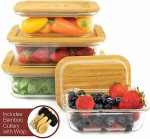 Glass Food Storage Containers w/Eco-Friendly, Bamboo Lids, Set of 4
