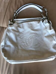 Authentic Designer Chanel CC Monogram Hand Bag - White large Leather With Flaws