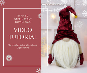 Video Tutorial step by step Christmas Gnome Toy Handmade Norwegian Gnome
