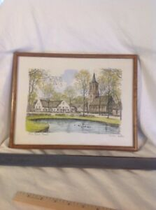 Beautiful Hand Signed GV Berkel European Vintage Lithograph Framed Signed NICE