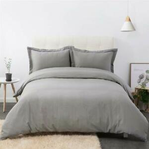 DUMEE 100% Cotton Cloth Duvet Cover Queen Full Size Bedding Grey 3PC Set