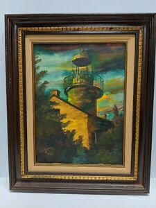 VINTAGE OIL PAINTING POINT LOMA SAN DIEGO LIGHTHOUSE SIGNED BY ARTIST A.Nest $1000.00