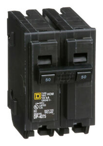 Square D HomeLine 50 amps Plug In 2 Pole Circuit Breaker $18.20