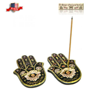 (SET OF 2) Stick Incense Burner: Flat Hamsa Hand Painted