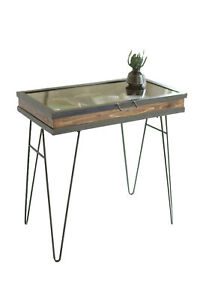 Kalalou CQ7210 30.5quot; Furniture Table Display Table w Hinged Glass Top Large