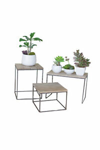 Kalalou CQ6776 17quot; Furniture Stand Wood and Metal Table Top Risers Set of 3