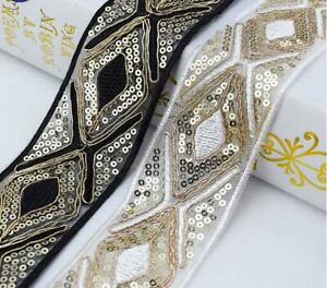 1Yard Ethnic Sequins Trim Embroidered Webbing Dress Ribbon Decor Lace DIY Sewing $2.43