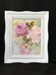 Shabby Chic Pink Roses Hand Painted Oil Framed Signed $75.00