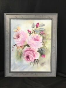 Hand Painted Antique Victorian Shabby Style Pink Roses Oil 11 X 14 Canvas Framed