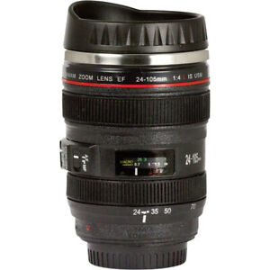 Camera Lens Coffee Cup 12oz Insulated Travel Drink Mug w Spillproof Twist Lid