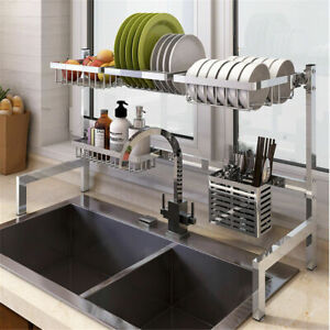 Stainless Steel Kitchen Shelf Rack Drying Drain Storage Holders Plate Dish Rack