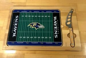 BALTIMORE RAVENS Picnic Time Icon Wood Glass Stainless Cutting Board and Knife