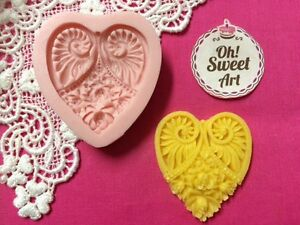 Heart Brooch silicone mold fondant cake decorating soap foof APPROVED FOR FOOD