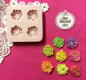 Vintage Flowers Silicone Mold Food Cake  wax decoration soap cupcake topper FDA