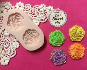 Twin Flowers Silicone Mold Food Cake  wax decoration soap cupcake topper FDA