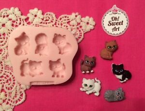Cats, Kittens, Animals  Silicone Mold Food Safe decoration Cake toppers Cupcake