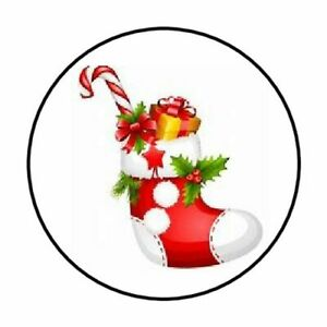 48 STOCKING CANDY CANE ENVELOPE SEALS LABELS STICKERS 1.2quot; ROUND $2.25