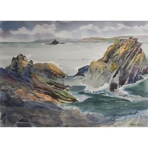 Ann M. Howes quot;Stormy Dayquot; Seascape Original Watercolor Well Listed Exhibited $349.00