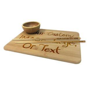 Custom Engraved Sushi Roll Bamboo Serving Set Board Cup Chopstick Text Photos