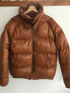 Phillippe Monet Leather Down Puffer Bomber Vintage Jacket Tan Brown Mens S Or M