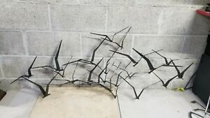 Signed Curtis Jere Birds in Flight Mid Century Modern Metal Wall Sculpture 56X22