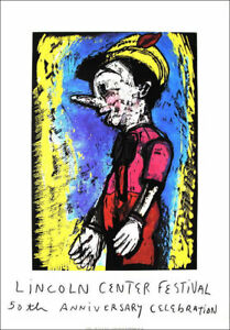 JIM DINE Huge Original LITHOGRAPH Pinocchio 2008 Lincoln Center VERA LIST Ltd Ed