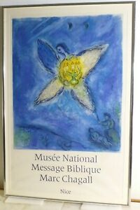 VINTAGE MARC CHAGALL STONE LITHOGRAPH  Exhibtion Poster Nice Museum France