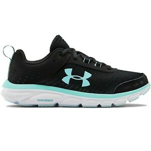 Women's Under Armour W CHARGED ASSERT 8 3021972 004 Black White Rift Blue Shoes $64.99