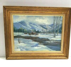 Original Oil Signed Rehle Higham Idaho Winter Mountain River Cabin Landscape #x27;79 $199.99