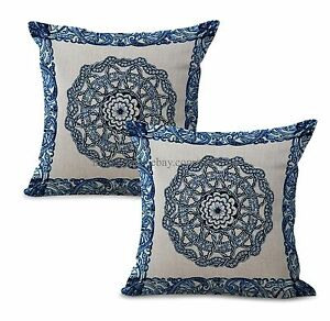 Set of 2 bohemian mandala yoga meditation cushion cover pillow throw