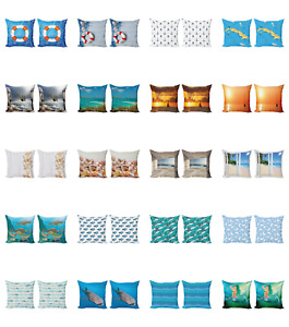 Ambesonne Ocean Scene Cushion Cover Set of 2 for Couch and Bed in 4 Sizes $13.99