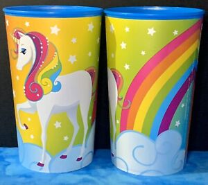 UNICORN WITH RAINBOW amp; CLOUD 22oz. Plastic Drinking Party Favor Cups Set 2 NEW