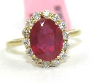 Natural Oval Pink Ruby amp; Diamond Halo Solitaire Ring 14k Yellow Gold 3.38Ct
