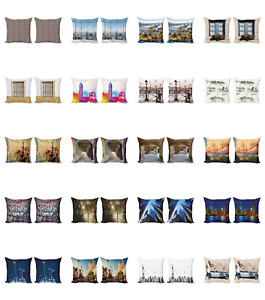 Ambesonne Urban Art Cushion Cover Set of 2 for Couch and Bed in 4 Sizes