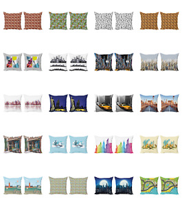 Ambesonne City Urban Cushion Cover Set of 2 for Couch and Bed in 4 Sizes
