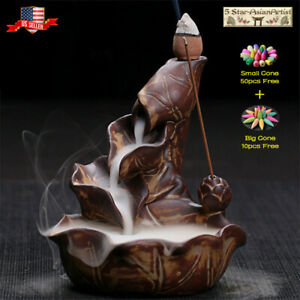 Ceramic Backflow Incense Cone Burner Holder Lotus Waterfall10 60Cones Gift