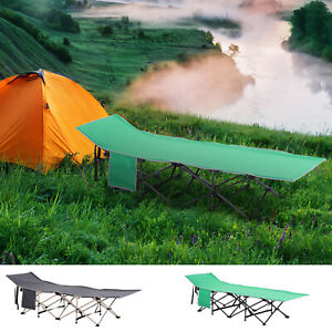 Outsunny Single Person Wide Folding Camping Cot Outdoor Bed w Carry Bag