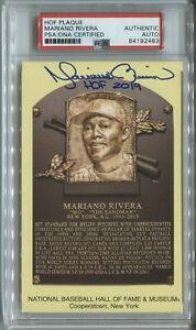 Mariano Rivera Signed Auto Gold HOF Plaque Postcard Yellow PSA COA quot;HOF 2019quot; $279.99