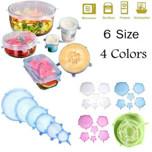6Pcs Kitchen Silicone Stretch Bowl Cover Food Fresh Keeping Vacuum Sealed Lid US