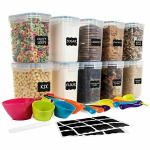 SPACE SAVER Food Storage Airtight Pantry Containers Set of 10 1.6L 54oz ... $36.99